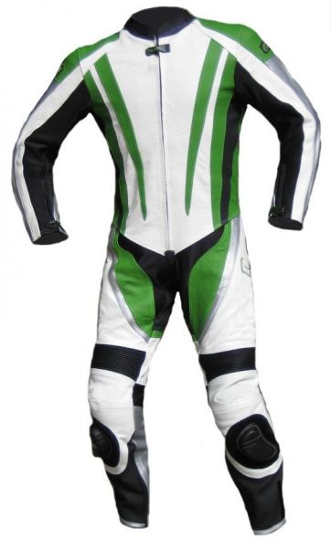 "Einteilige Lederkombi von XLS ""Racing Green"" Kawasaki-Grün"