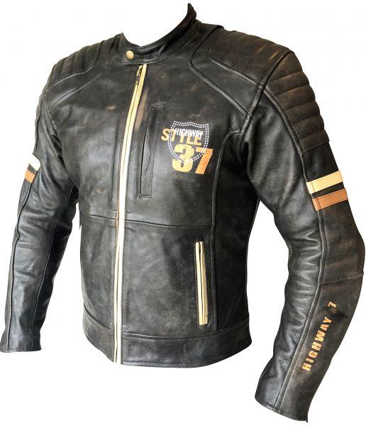 Retro Leder Motorradjacke Vintage Grau Gr. XL