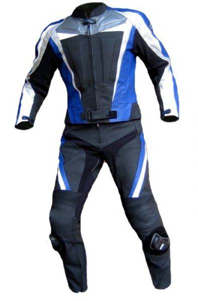 Lederkombi BLUE ARROW zweiteilig schwarz blau von XLS