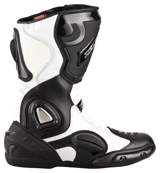 """XLS Motorradstiefel """"Race Gear"""" / Racing Boots Schwarz Weiß"""