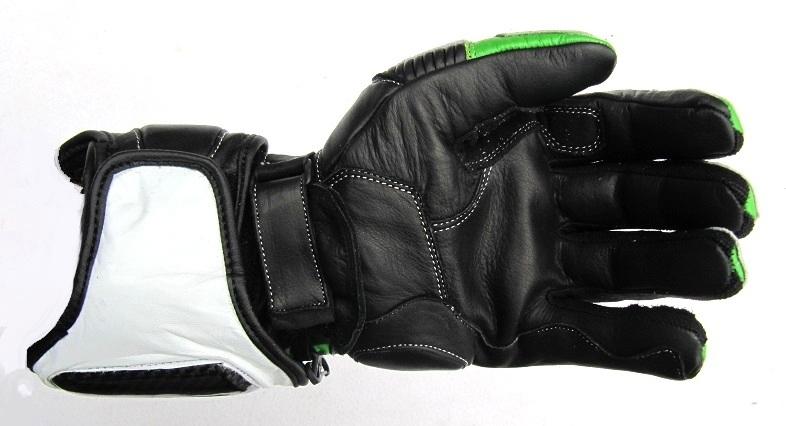 XLS Motorradhandschuhe Leder mit Protektoren in Kawa Gr/ün M