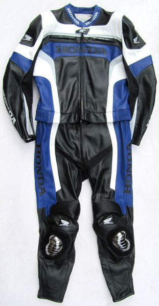 Honda Suzuka Gr. 50 Zweiteiler Lederkombi schwarz blau