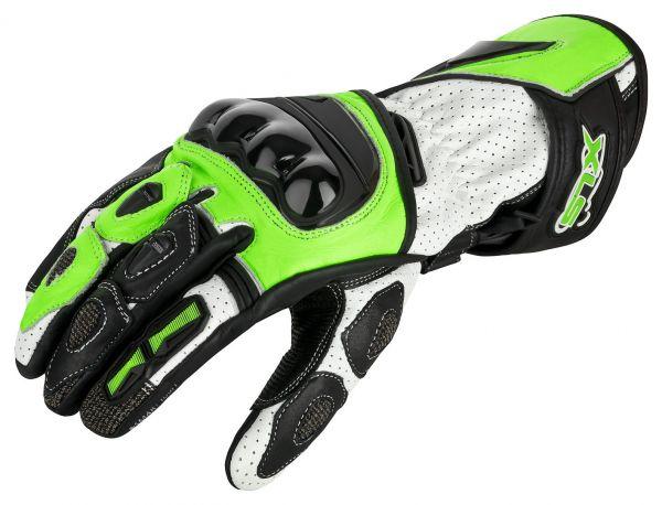 Motorrad Leder Handschuhe mit Protektoren Neon Gelb Weiß