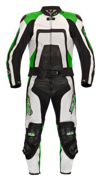 """Lederkombi von XLS als Zweiteiler Modell """"Green Carbon"""" Kawasaki-Grün"""