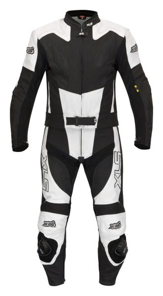 Black-White-Arrow Bundle Lederkombi + Stiefel + Handschuhe