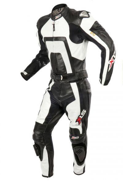 XLS Lederkombi Zweiteiler Carbon schwarz weiß